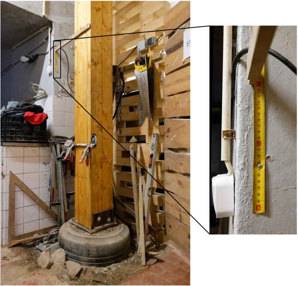 Measuring settling of tyre foundation