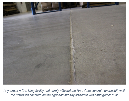 14 years at a CorLiving facility had barely affected the Hard-Cem concrete on the left, while the untreated concrete on the right had already started to wear and gather dust.